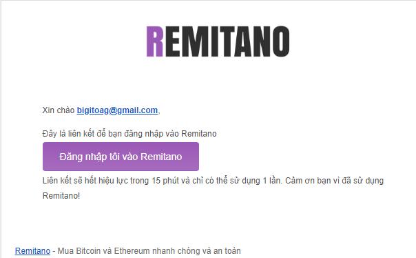 Xác thực tài khoản Remitano