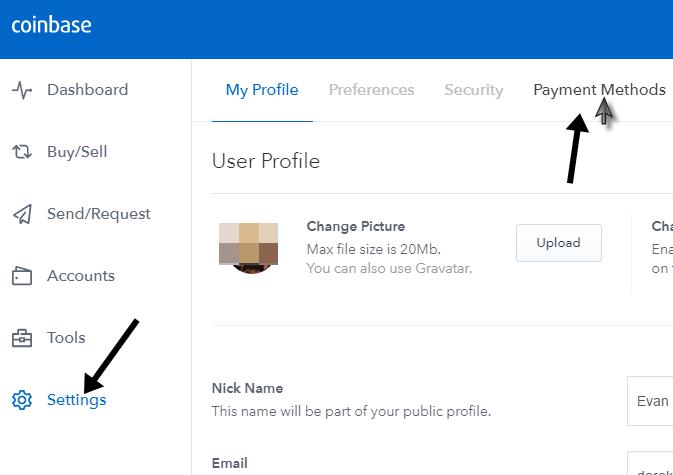 truy cập cài đặt tài khoản