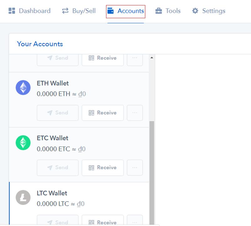 Bước 3: Tạo địa chỉ ví Litecoin trên Coinbase