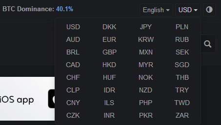 Các tính năng của CoinMarketCap