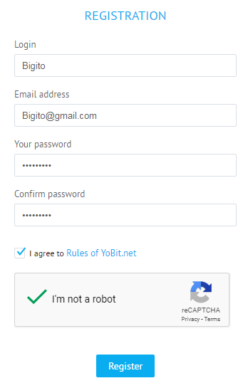 cách đăng ký tài khoản Yobit