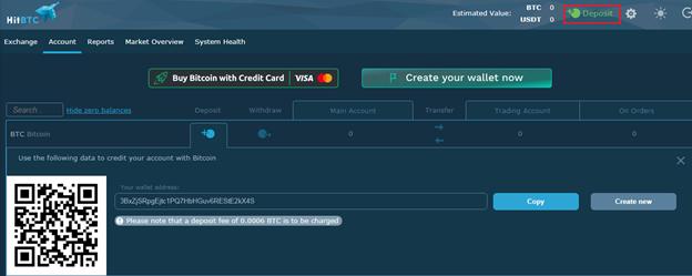 Gửi tiền tại HitBTC