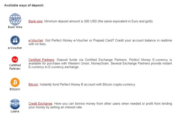các hình thức gởi tiền Perfect Money